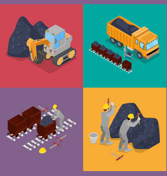 isometric coal industry with workers in mine vector image vector image