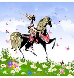 Khokhloma horse girl Pattern vector image vector image