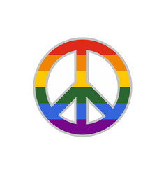 Lgbt peace sign icon flat style vector