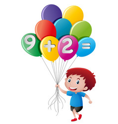 little boy holding balloon with math equation vector image