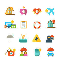 Long life insurance flat icons family vector