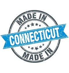 Made in connecticut blue round vintage stamp vector
