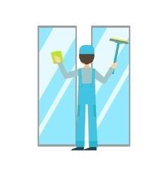 Man with sponge and squeegee washing windows vector