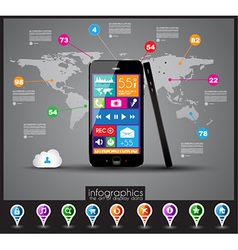 Modern Infographic with a touch screen smartphone vector image vector image