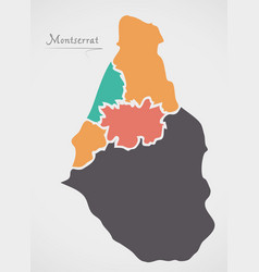 montserrat map with states and modern round shapes vector image