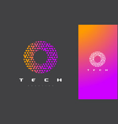 o letter logo technology connected dots letter vector image vector image