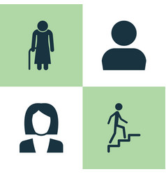 Person icons set collection of businesswoman old vector