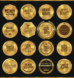 Premium quality golden labels collection vector