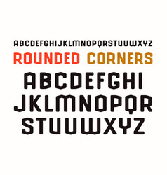 Sanserif font in sport style with rounded corners vector