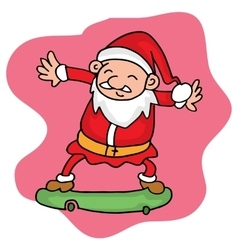 Santa playing skateboard character collection vector