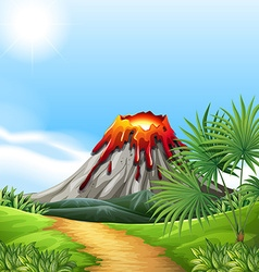 Scene with volcano eruption vector