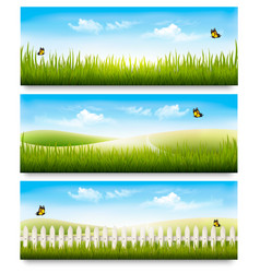 three nature summer meadow landscape banners with vector image vector image