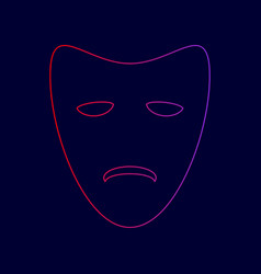 Tragedy theatrical masks line icon with vector