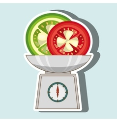 Vegetable on balance isolated icon design vector