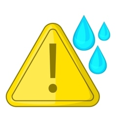 Warning sign and drops icon cartoon style vector