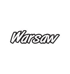 Warsaw europe capital text logo black white icon vector