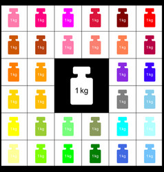 weight simple sign felt-pen 33 colorful vector image