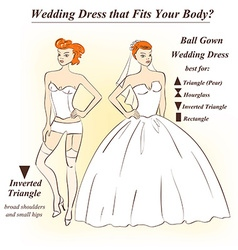 Woman in underwear and ball gown wedding dress vector