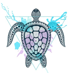 Zentangle stylized ocean turtle in triangle frame vector