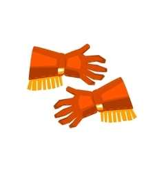Cowboy gloves with fringe drawing isolated on vector