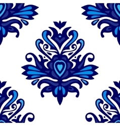 Blue and white damask pattern for fabric vector