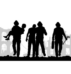 Firefighters silhouette vector image