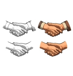 Handshake color vintage engraving vector