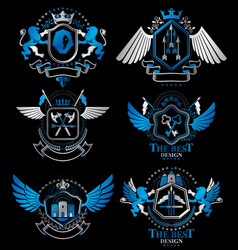 Set of luxury heraldic templates collection of vector