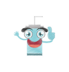 Drawing plastic cup soda straw vector