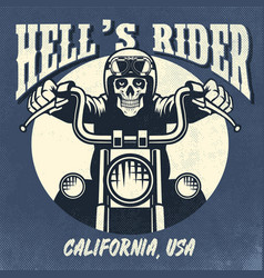 vintage and rusty design of skull riding vector image