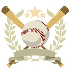 Logo with a wreath and a baseball color vector