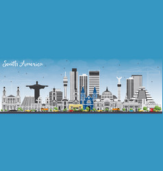 South america skyline with famous landmarks vector