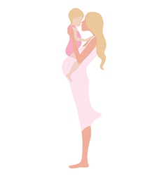 Young beautiful pregnant woman with the child vector image