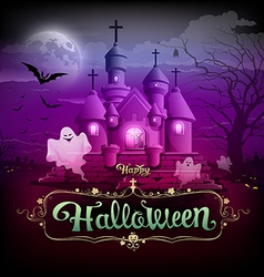 Happy halloween castle ghost on the moon design vector