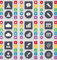 Cone chat bubble rocket cloud diagram credit card vector