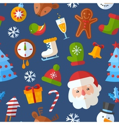 Christmas seamless pattern with flat elements vector