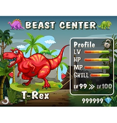 Game template with dinosaur background vector