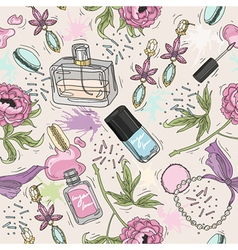 Seamless beauty pattern with make up perfume vector