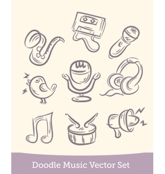 music set doodle isolated on white background vector image