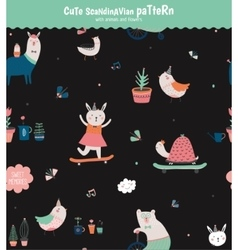 Cute scandinavian seamless pattern vector