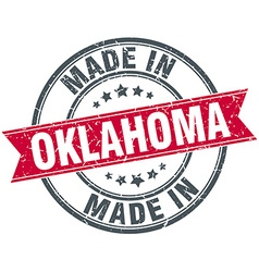 Made in oklahoma red round vintage stamp vector