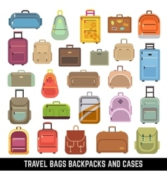 Travel bags backpacks and cases color icons vector