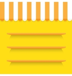 Empty shelves on yellow wall vector