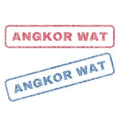 Angkor wat textile stamps vector