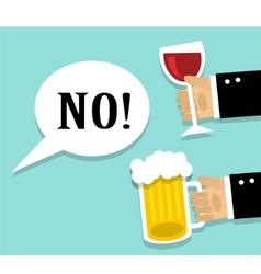 Avoiding alcohol and sober vector