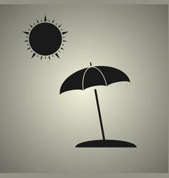 Beach umbrella with sun vector