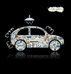car washing icons sketch for your design vector image vector image