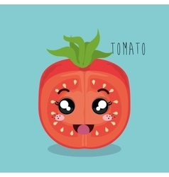 cartoon tomato sliced vegetables design isolated vector image vector image