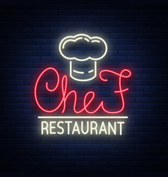 chef restaurant logo sign emblem in neon style vector image vector image