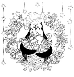 Christmas penguin with gift box zentangle doodle vector image